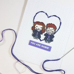 3/$15 - Stitched Harry Potter Themed Greeting Card
